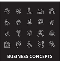 business concepts editable line icons set vector image