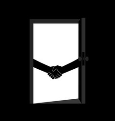 business handshake behind door contract vector image