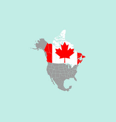 Canada on north america map vector