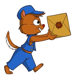 Cartoon delivery chipmunk with package vector image vector image