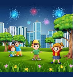children playing outdoors with cityscape and firew vector image