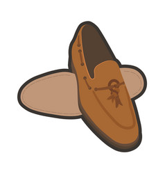 Classic brown male shoes vector