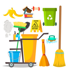 cleaning items household supplies icons vector image