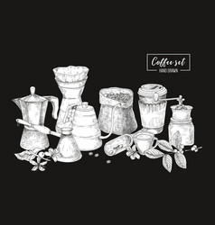 Collection tools for coffee brewing in black vector
