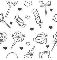 Collection various candy hand draw doodles vector