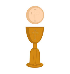 Communion cup and host vector