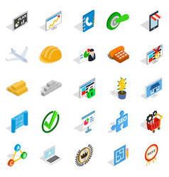 Construction business icons set isometric style vector
