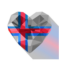 Crystal faroese heart the flag of the faroe island vector