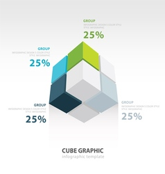 Cube infographic template bottom view vector
