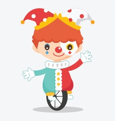 cute clown with bike vector image