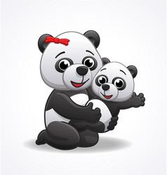 Cute happy panda mother with infant panda vector