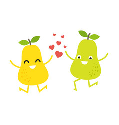 cute pears couple for valentines day card vector image