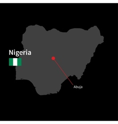 Detailed map of Nigeria and capital city Abuja vector image