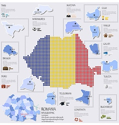 Dot And Flag Map Of Romania Infographic Design vector