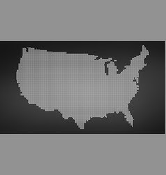 dotted map of usa isolated on black background vector image