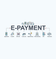 E-payment banner web icon for business vector