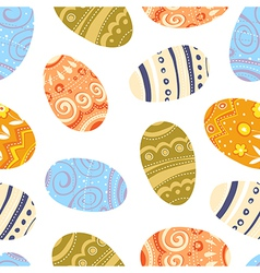 easter eggs seamless pattern white background vector image