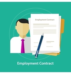 employment contract paper document desk and hand vector image