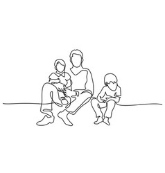 Family concept father and kids sitting together vector