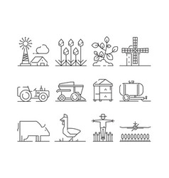 farm linear icon agricultura nature village vector image