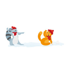 flat cat raccoon character playing iceballs vector image