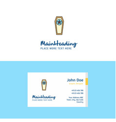 Flat coffin logo and visiting card template vector