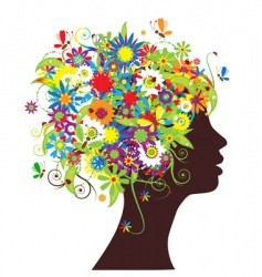 floral head silhouette vector image