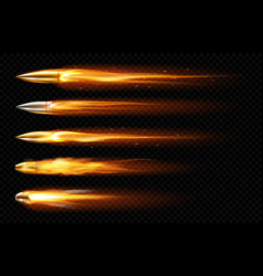 flying bullets with fire and smoke traces vector image