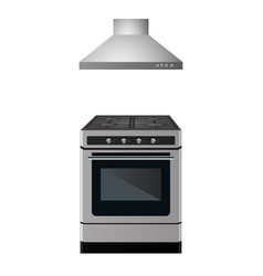 Gas stove with kitchen hood vector