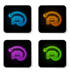 glowing neon electric car and electrical cable vector image