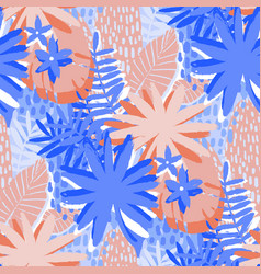 graphic seamless pattern of exotic leaves vector image