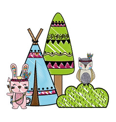Grated rabbit and owl animal with camp and bush vector