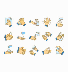 hand washing icons set vector image