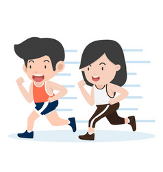 happy couple attractive running cartoon style vector image