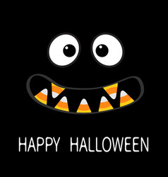Happy halloween scary monster face emotions vector