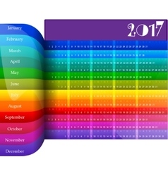 Happy New Year 2017 colorful calendar vector