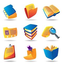 Icons for books and papers vector image vector image