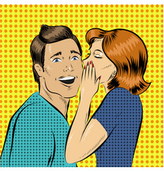 In pop art style woman whisper vector