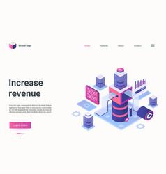 Increase revenue isometric landing page investor vector