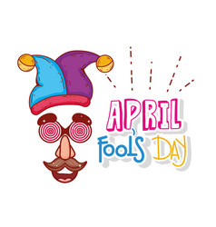 jester hat and mask custume to fools day vector image