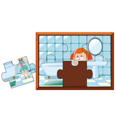 jigsaw puzzle game with girl brushing teeth vector image