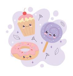 Kawaii sweet donut lollipop and cupcake dessert vector