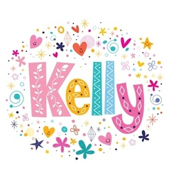 Kelly female name decorative lettering type design vector image