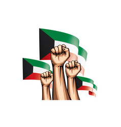 Kuwait flag and hand on white background vector