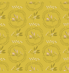 Mustard yellow leaf wreath circle berry branch vector