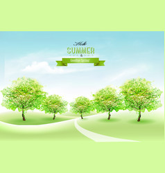 Nature summer countryside landscape background vector