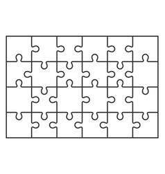 Puzzle jigsaw set of 24 pieces in vector