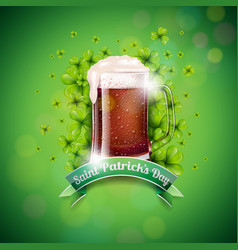 Saint patricks day design with fresh dark beer and vector