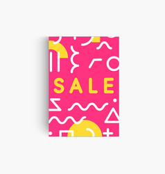 sale pink banner template with memphis geometrical vector image