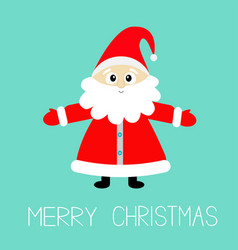 santa claus wearing red hat costume big beard vector image